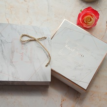 20*20*6.5cm 3set Rose Gold Marble Thank You Design Paper Box + Bag As Cookie Candy Handmade Sweet Wedding Birthday Gift Use