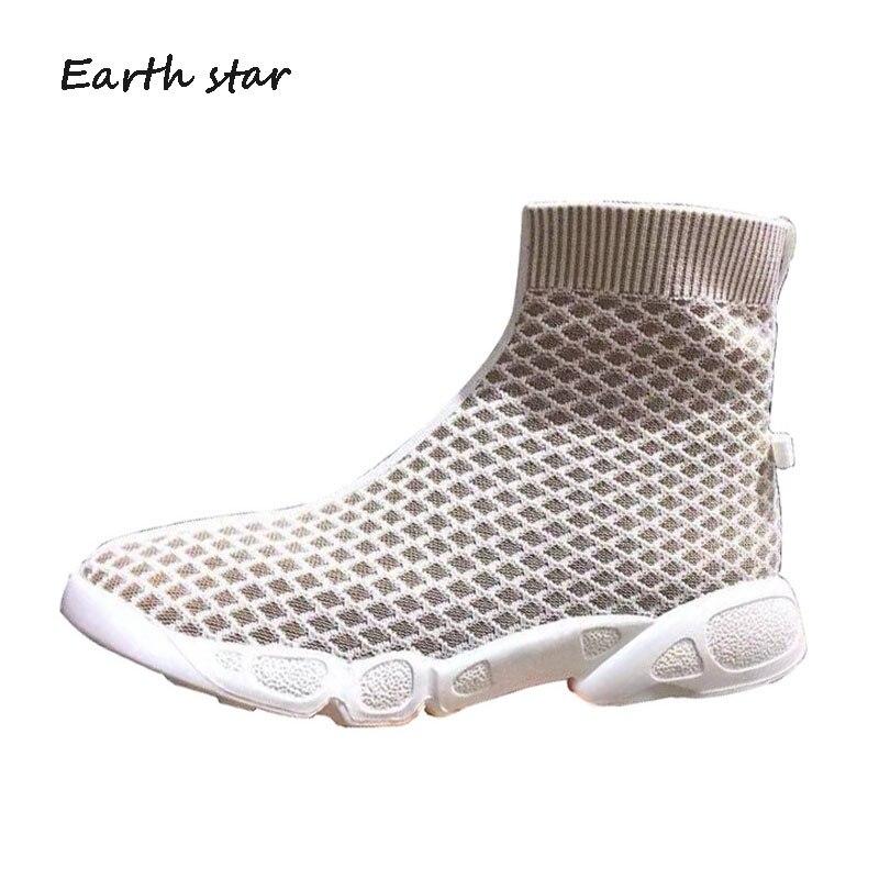 Décontracté chaussette chaussures femmes Chunky baskets haute plate-forme zapatos de mujer printemps nouvelles chaussures femme dames blanc chaussures
