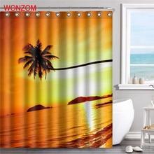 купить WONZOM Sunset Beach Waterproof Shower Curtain Falls Bathroom Decor Landscape Decoration Cortina De Bano 2017 Bath Curtain Gift по цене 811.12 рублей