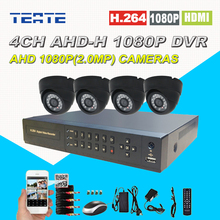 HD 4CH Full 1080P AHD-H DVR 4pcs 2500TVL AHD 1080P Indoor Non-waterproof security surveillance Digital camera Monitoring CCTV Package