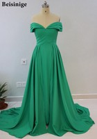 Elegant Off Shoulder Emerald Green Evening Dress Court Train Satin Long Overskirt Prom Dresses 2018 Vestido