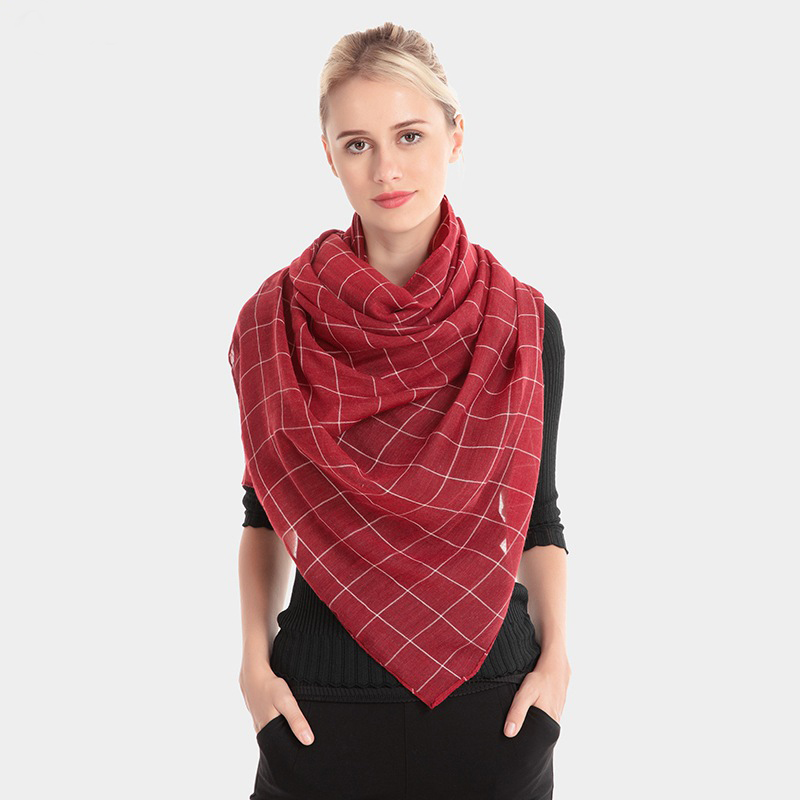 F&U Tr-cotton Viscose Long Plaid Soft   Scarf     Wrap   Luxury Shawl Fashion And Warm For Woman In Winter 10 Colors