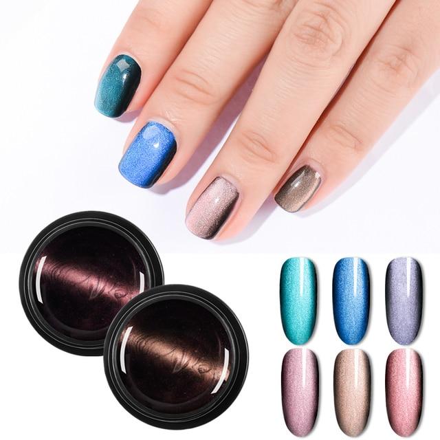 Magnetic 5D Cat Eye UV Gel Nail Polish Magnet Laser Nail Art Varnish Starry Sky Jade Effect Soak Off UV Gel Nail Art Lacquer 1
