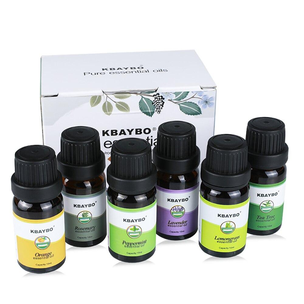 Ätherisches Öl für Diffusor Aromatherapie Öl Luftbefeuchter 6 Arten Duft von Rosmarin Orange Lavendel Pfefferminze Zitronengras Tee