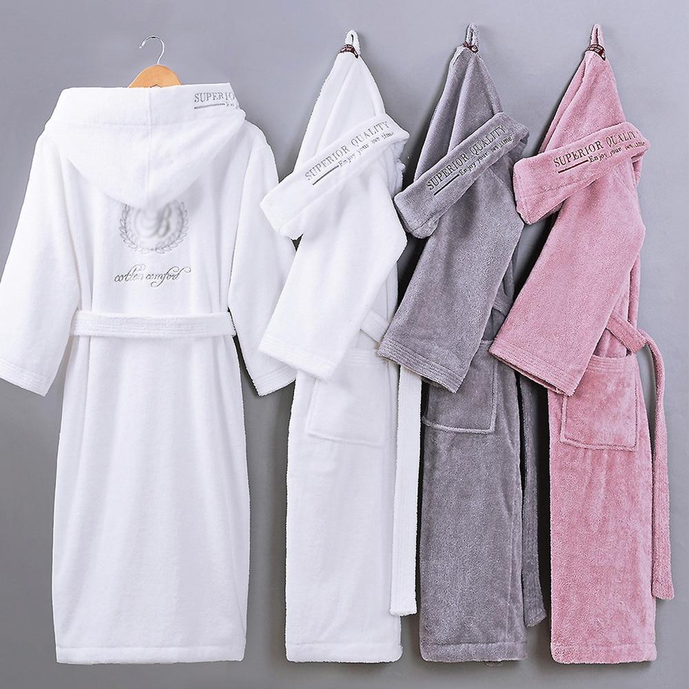 Automne hiver épais pur coton couleur unie peignoirs broderie robe unisexe à manches longues absorbant terry peignoir à capuche pijamas