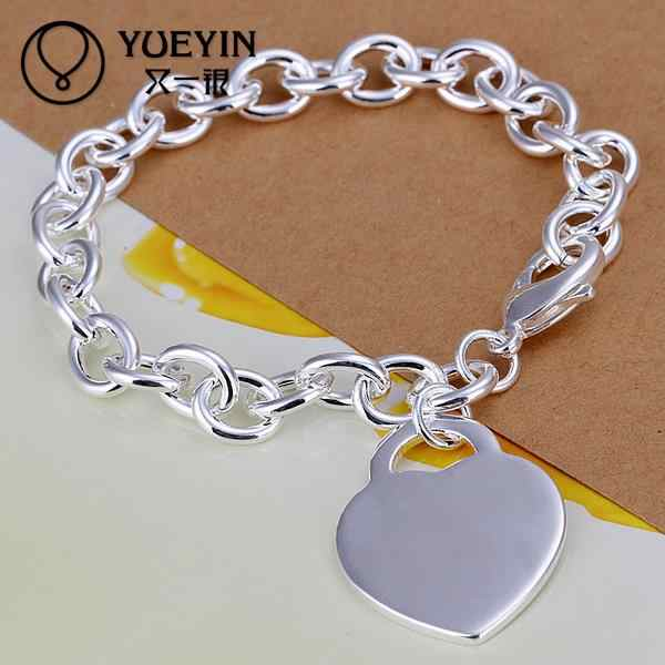 Hot Selling Wholesale Silver Plated Fashion Bracelets Bracelets Jewelry Heart Chain Charm Bracelet