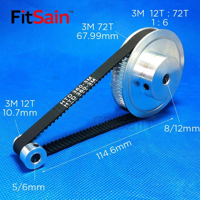 FitSain-3M Pulley Synchronous Wheel 12T:72T 1:6 Deceleration Timing Belt Bandwidth 10 Holes 5/6/8/12mm