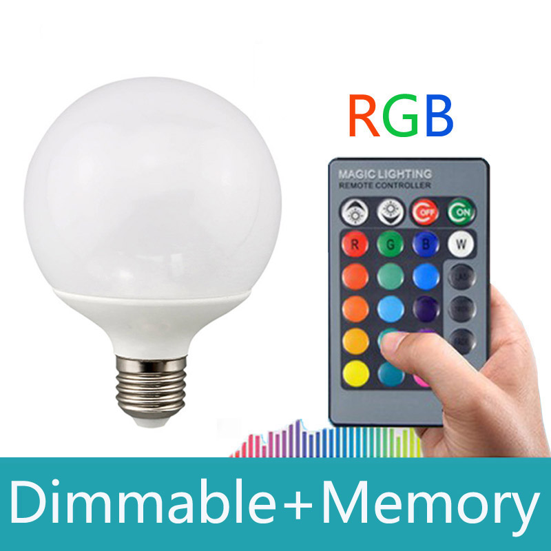 E27 rgb led 10W 16 color changeable With 24keys IR remote control rgb led bulb light Dimmable 110v 220v rgb led lamp with memory