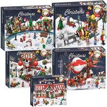 Новые комплекты одежды в рождественском стиле деревня поезд на воздушном шаре Доступно Модель legoinglys конструкторных блоков, Детские кубики, игрушки в подарок без коробки