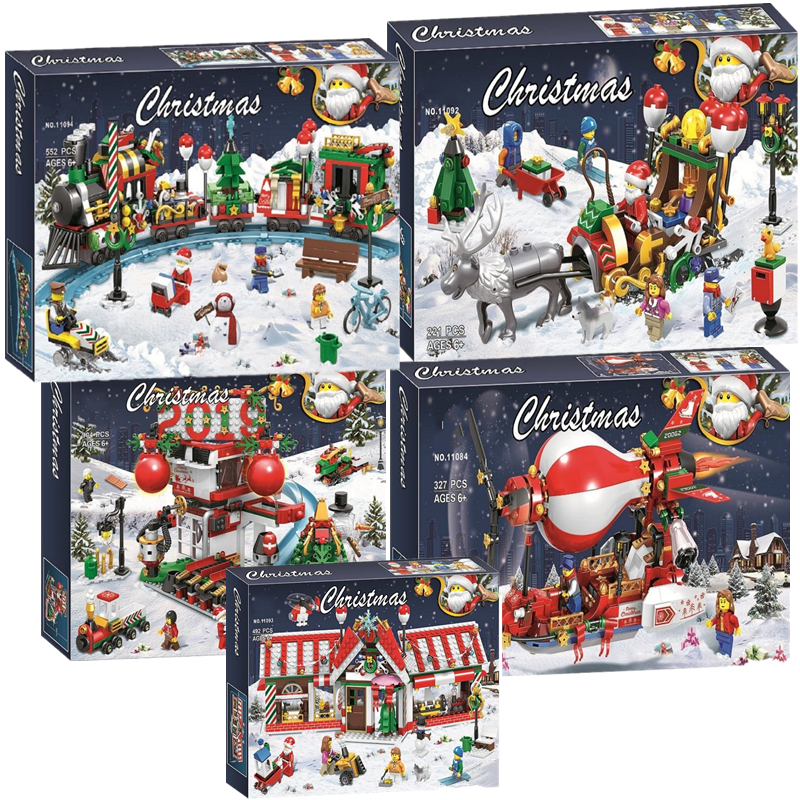 2019 New Christmas Sets Village Train Hot Air Balloon Compatible With Legoinglys Model Building Blocks Bricks Toys Gift No Box