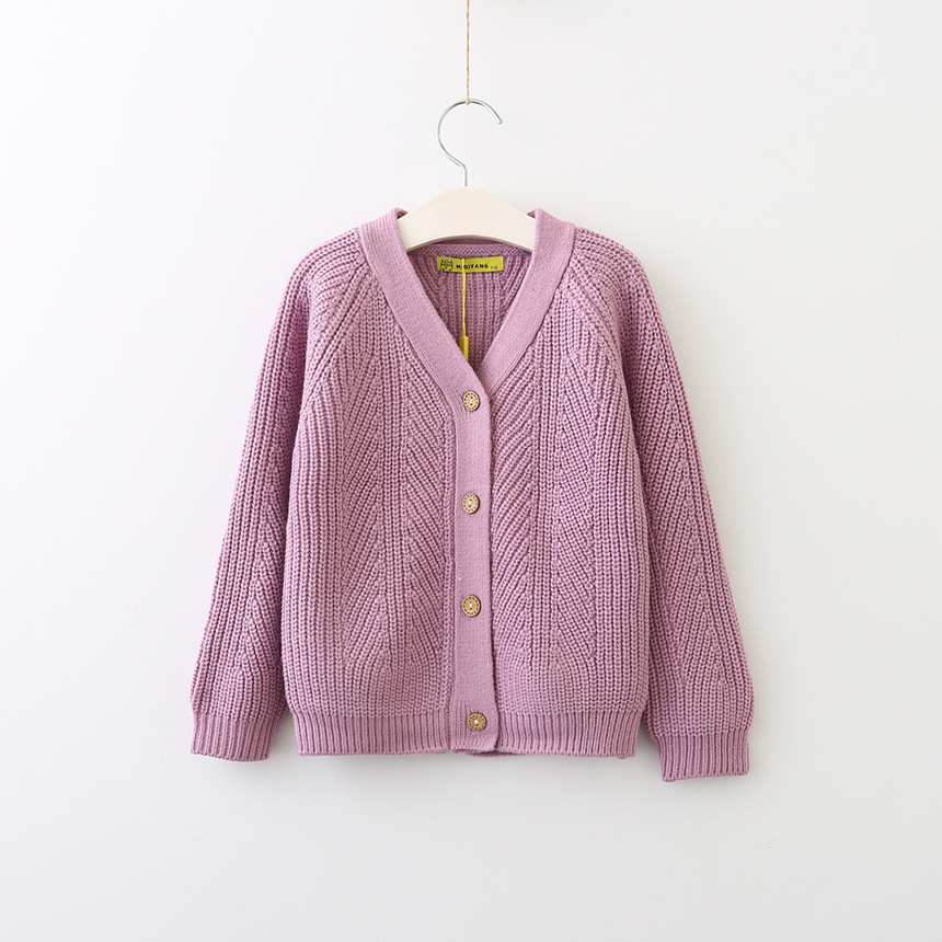 Everweekend Girls V Neck Button Cardigan Sweet Baby Pink Purple ...