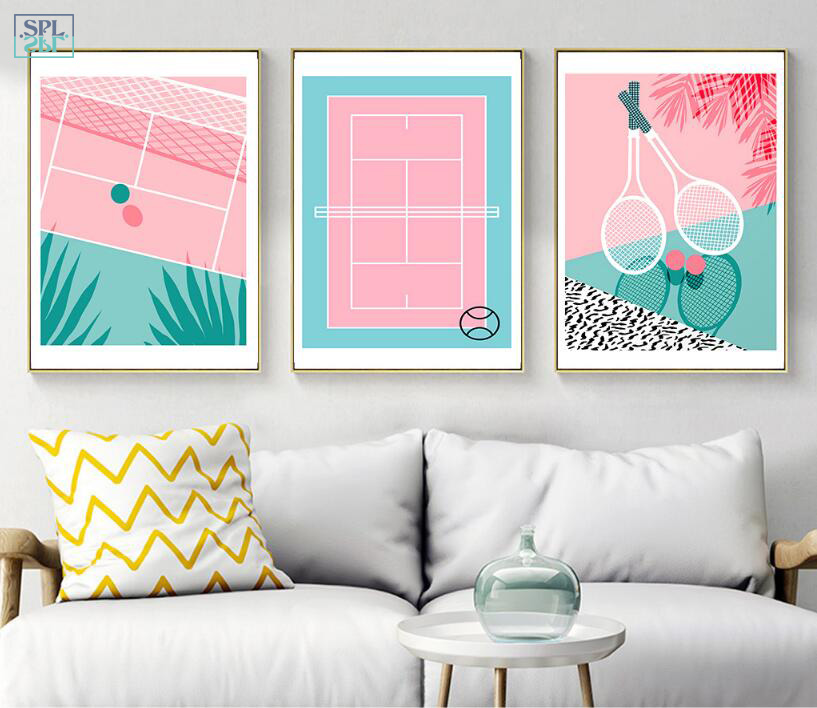 SPLSPL Nordic Style Cute Pink Tennis Canvas Art Print Poster and Painting Sport Wall Picture Home Decor for Living Room No Frame
