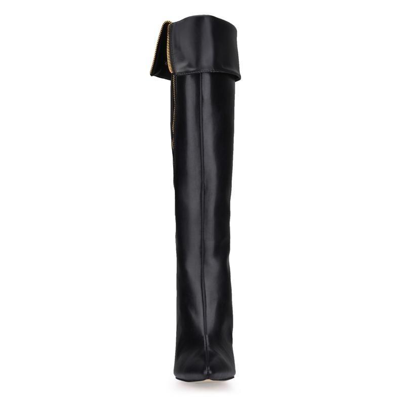 Mujer Talons Cuissardes Détail Hauts Bottes Dame Le Latérale Solide Sexy Pointu À Bout Sur Botines Genou Femme 2018 Noir Chaussures Glissière gfdFgw