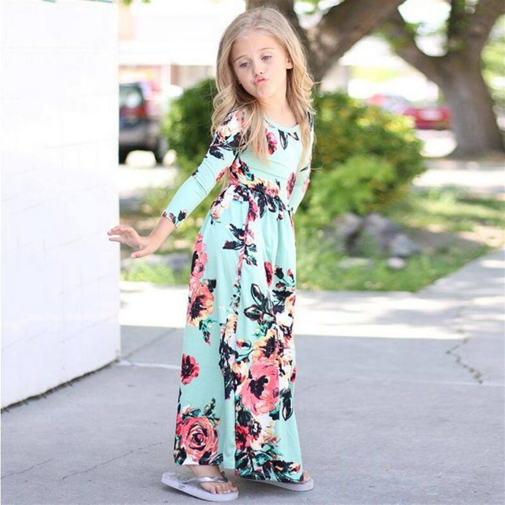 Kids Dresses for Girls 2018 New Long Sleeve Floral Children Princess Dress Spring Summer Girl Beach Dresses for Party fashion 2016 new autumn girls dress cartoon kids dresses long sleeve princess girl clothes for 2 7y children party striped dress