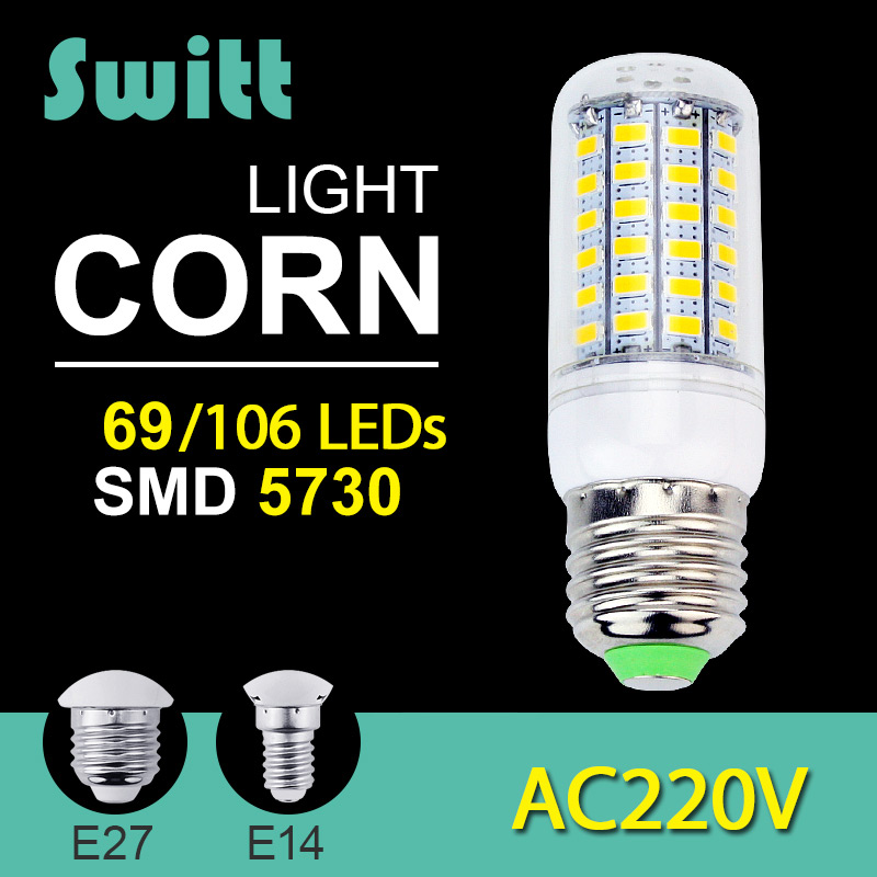 High power 220v 240v led lamp corn bulb spotlight smd 5730 lampada led e27 e14 lamparas