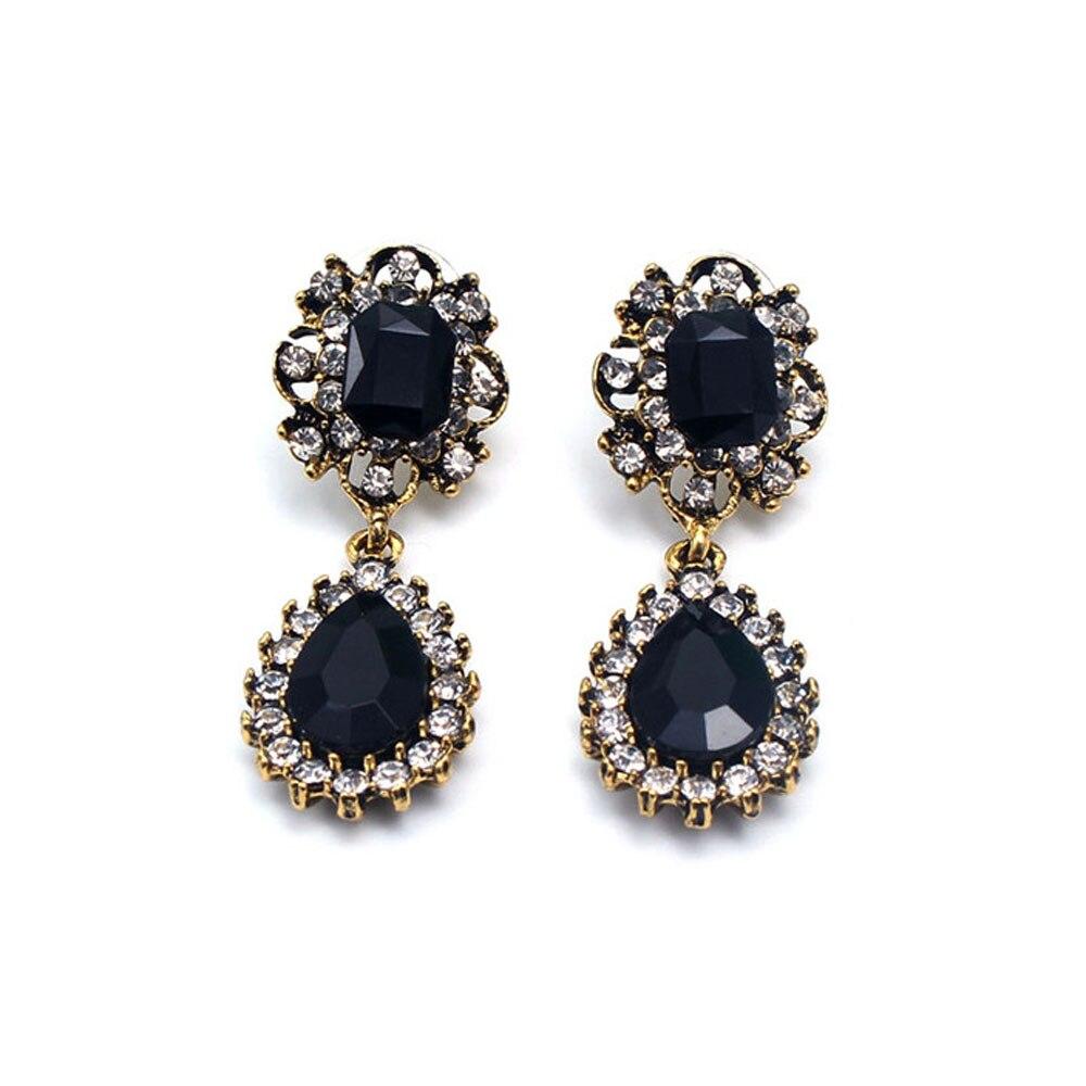 Vintage Waterdrop Long Earrings Gold Black Stone Austrian Crystal Drop  Earrings For Women Wedding Jewelry 1pair