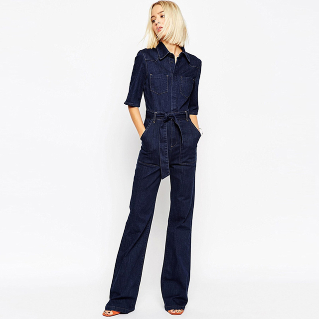 Bandage Denim Jumpsuit Women Jeans Long Leg Casual Playsuit Bodies Corpo Elegant Female High Fashion Blue Jumpsuit Jean 30L016