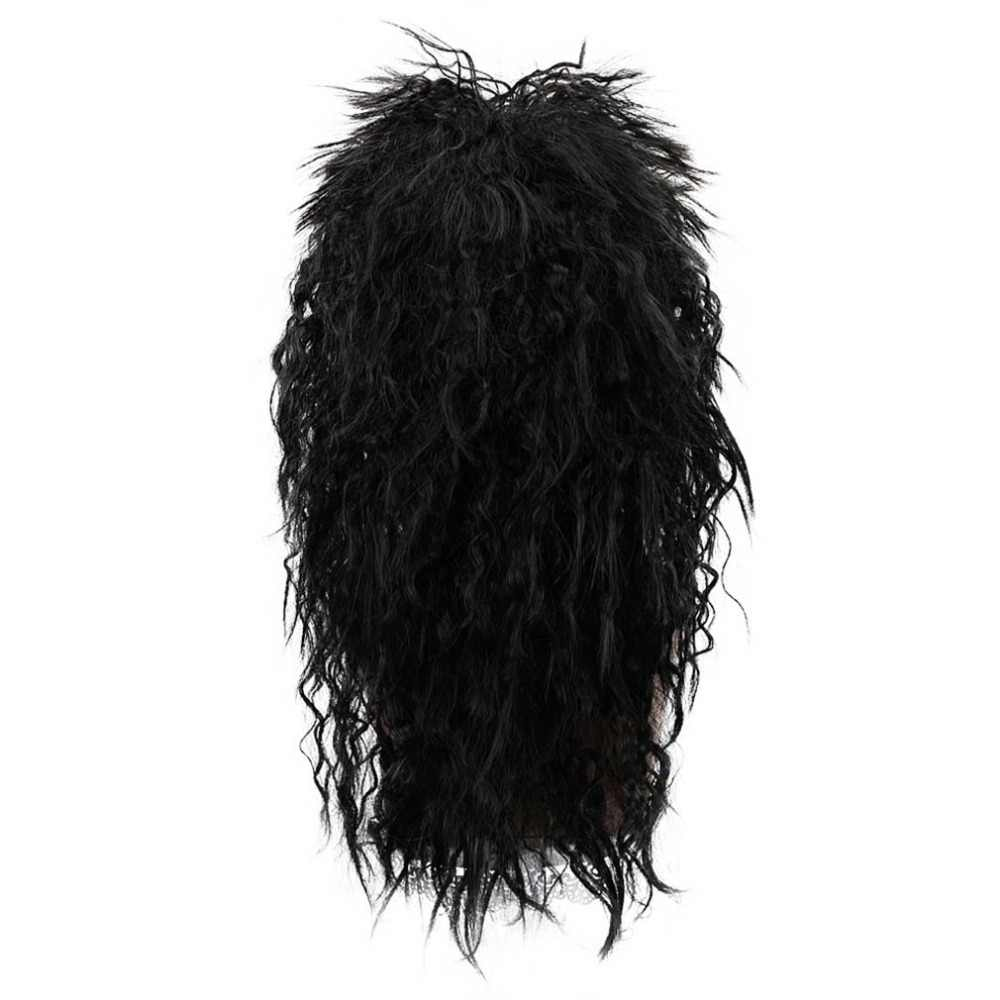 Gratis Beauty 20 ''Lang Krullend Zwart Synthetische Punk Rock Crazy Spiky Fancy Grappige Pluizige Vampire Hippie Pruik voor Mannen party Halloween