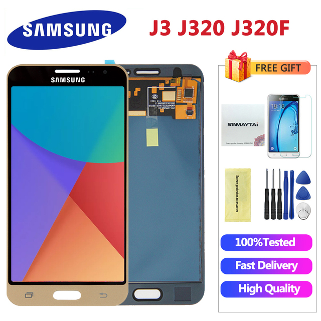 J320F شاشات lcd لسامسونج j3 2016 عرض J320 J320A J320F J320M شاشة الكريستال السائل مع لمسة شاشة يمكن ضبط سطوع هدية مجانية
