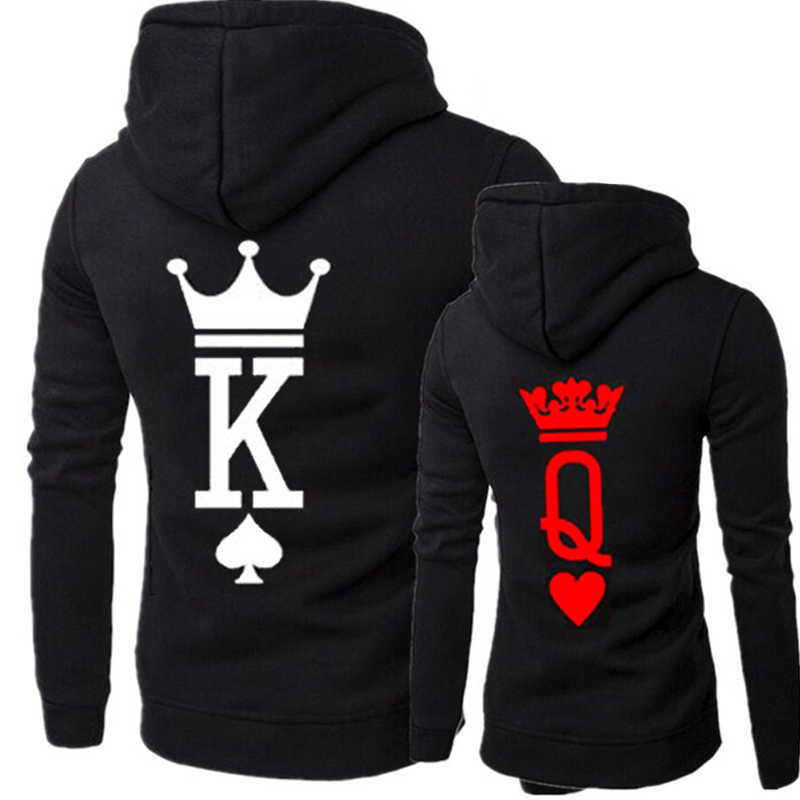 Fashion QUEEN KING Print Hooded Long Sleeve Couple
