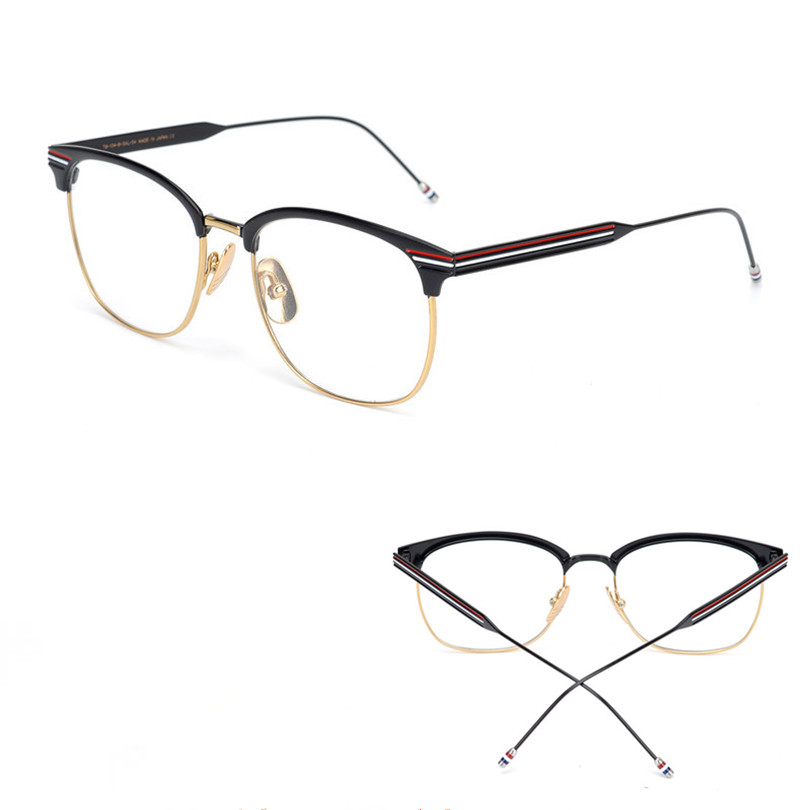New York Brand Thom half frame and Round Eyeglasses Frames TB104 for Men And Women Eyeglasses with original package Oculos