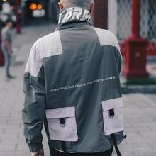 Hip Hop Jacket Windbreaker Men Japan Harajuku Multi Pockets Jacket Coat Retro Vintage Casual Track Jacket Streetwear 2018 Autumn