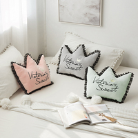 iDouillet Crown Shaped Decorative Stuffed Throw Pillow with Lace Ruffles & Embroidery Nursery Cushion for Sofa Bed Couch Bedroom