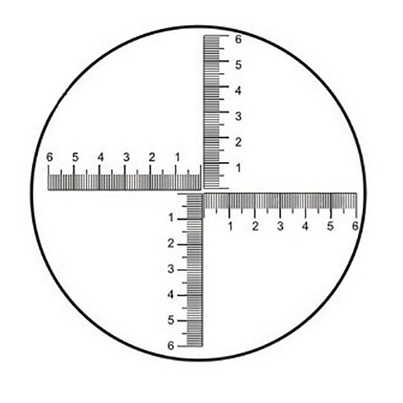 DIV=0.1 Mm Eyepiece Micrometer For Biological Microscope With Reticle Scale Cross Ruler 6-0-6 Area Measurement Diameter 20 Mm