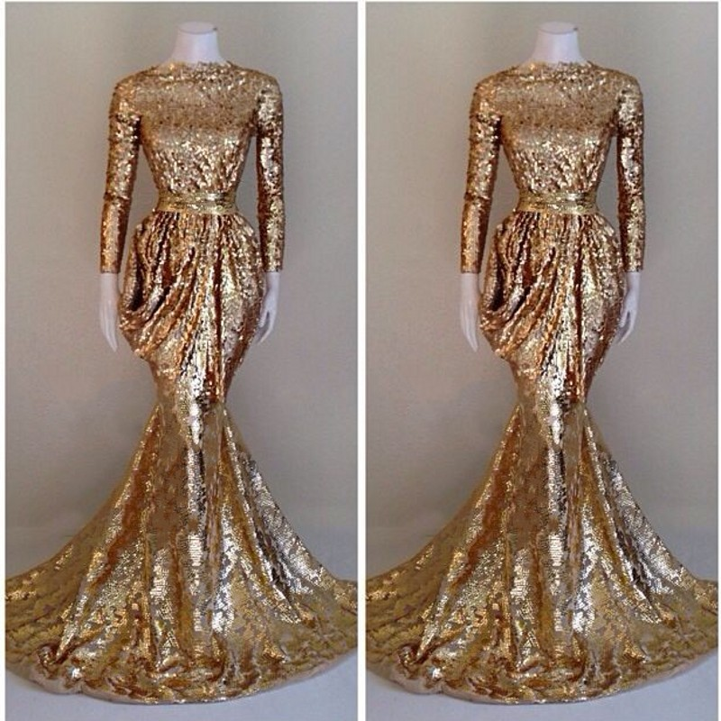 Women Formal Gala Dress Plus Size Arabic Muslim Gold Mermaid Long Sleeve Evening Prom Dresses Gown Long 2019