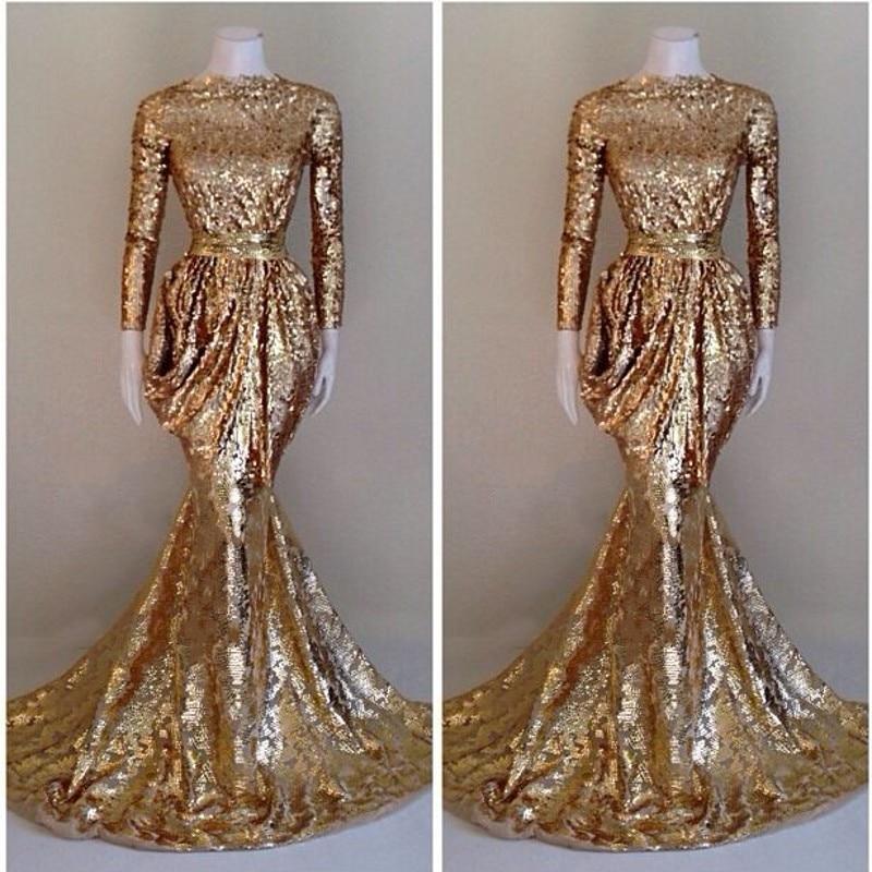 Women Formal Gala Dress Plus Size Arabic Muslim Gold Mermaid ...