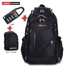 Magic union marca hombres bolsa de viaje bolsa de hombre mochila de poliéster bolsas impermeables bolsos de hombro packsack computadora con lock raincover