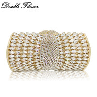 Double Flower Hollow Out Sparkling Dazzling Crystal Women Gold Evening Clutch Bags Wedding Party Bridal Diamond Handbag Purse