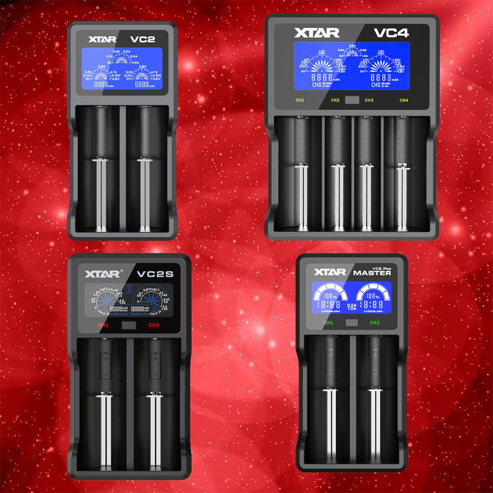 XTAR VC2 VC2 Plus VC4 VC2S Colorful VA LCD Battery Charger For 10440/16340/14500/14650/18350/18500/18650/18700/21700/20700/17500