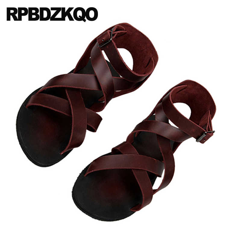 c23943098 ... Leather Men Gladiator Sandals Summer Boots Burgundy Italian Strap Beach  Breathable Flat Black Roman 2018 Shoes ...