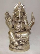 Chinese Tibet Silver Elephant Buddha Statue
