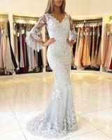 Silver Muslim Evening Dresses 2019 Mermaid V neck 3/4 Sleeves Lace Beaded Islamic Dubai Saudi Arabic Long Elegant Evening Gown
