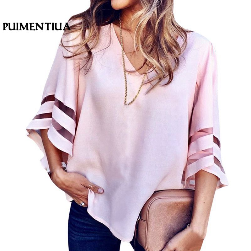 Womens Tops And Blouses Big Size Shirt Lace Patchwork Five-point Sleeve Hollow Out Bandage V Neck 5xl Loose Top Ropa De Mujer Blouses & Shirts
