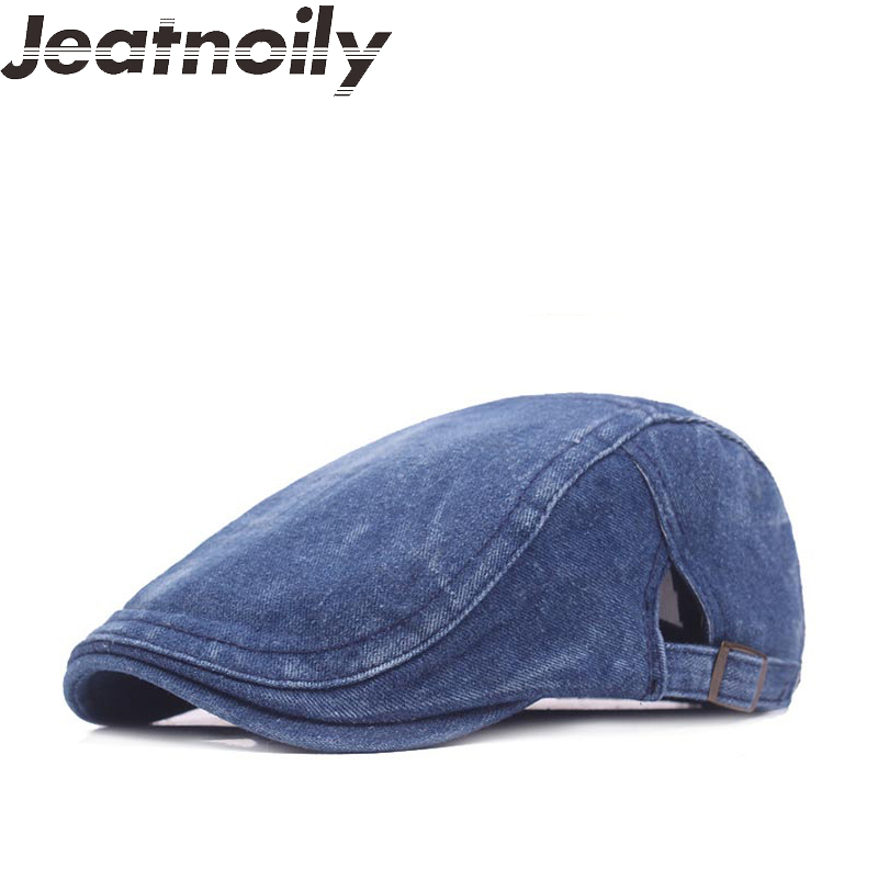 Fashion Jeans Hats for Men Women High Quality Casual Unisex Denim Beret Buckle Caps Spring Summer OutDoors Flat Cap for Cowboy