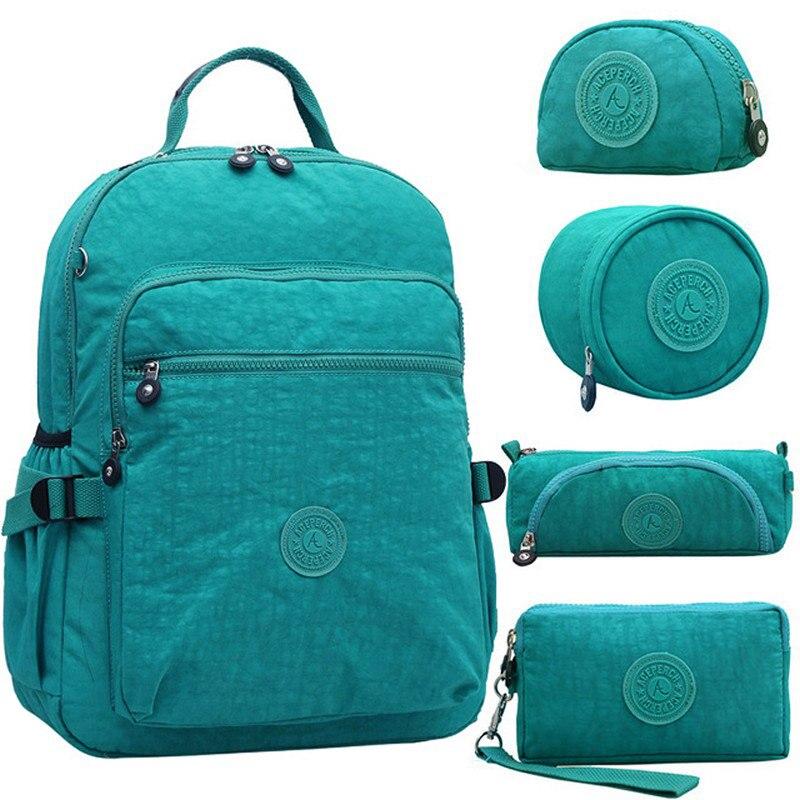 5 teile/satz Casual Original Schule Rucksack für Teenager Kiple Mochila Escolar Reisetasche Rucksack für Laptop Mit Affe Keychain