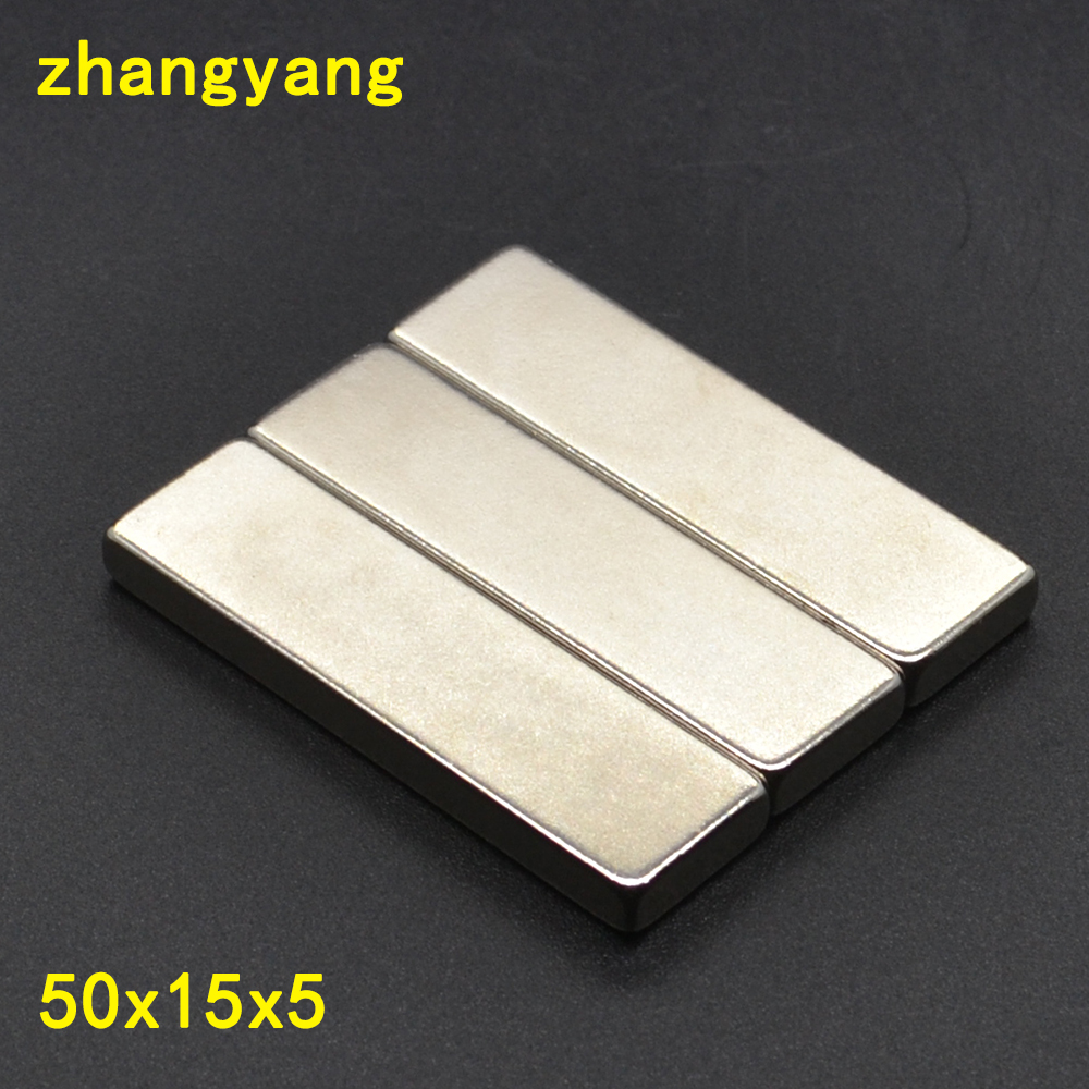 1pc <font><b>50*15*5</b></font> Big Bulk Super Strong Strip Block Magnet Rare Earth Neodymium 50 x 15 x 5 mm N35 50x15x5 image