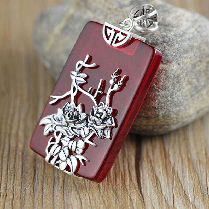 Gemstone Jewelry Big Ruby Vintage Flower Hollow Geometry Design 925 Sterling Silver Necklaces Pendants For Women 2018 New RP02