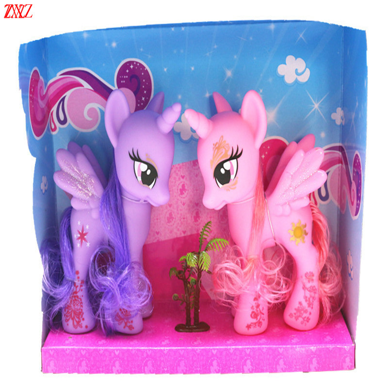 15CM Beautiful set Collection Model Toys for baby girl Anime cartoon Lovely Rainbow Horse Princess Luna Unicorn Poni GIRL GIFT to love darkness bunny adult pretty girl model anime girl model beauty model tableware animation hand model toys l