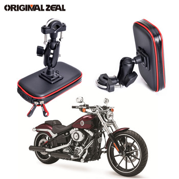 Upgrade 360 Degree GPS Motorcycle Waterproof Bag Bicycle Phone Holder Adjustable Handlebar Support Moto Mount Card Slots