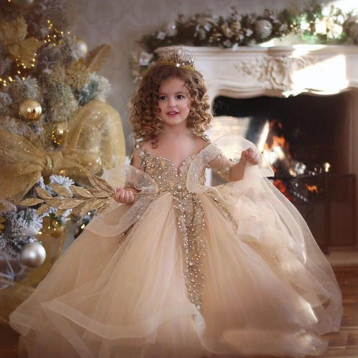 2019 Princess Gold Girls Pageant Dresses Lace Applique Beads Long Sleeve Ball Gown Flower Girl Dress Tulle First Communion Gowns