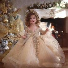 Платье принцессы для девочки золотого цвета Нарядные платья Кружево, аппликация бисером с длинными рукавами бальное платье с цветочным узором для девочек с юбкой из тюля; платье для первого причастия