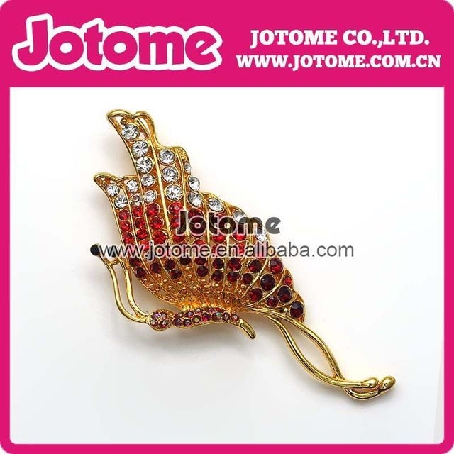 HOT Mix Red Butterflies Rhinestones Luxurious Nobility Brooches Fashion alloy Enamel brooch pin