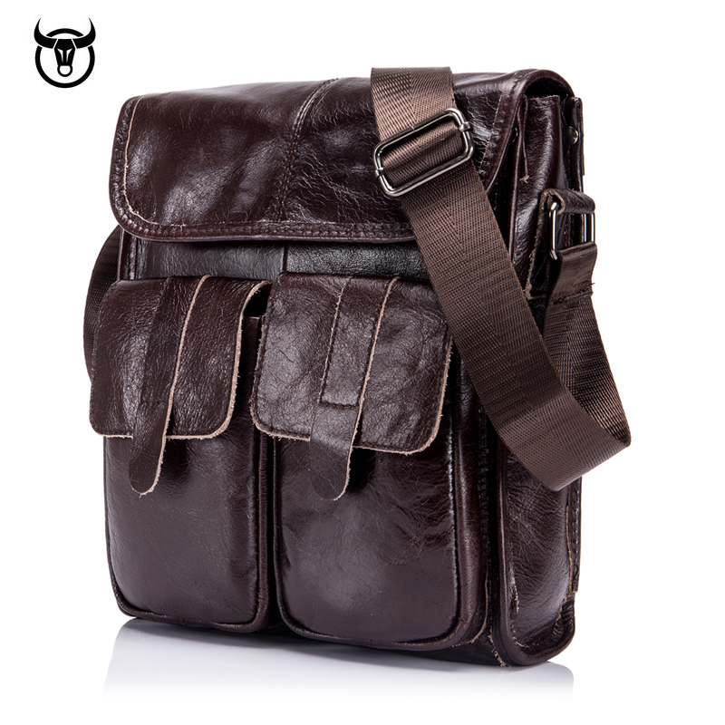 Brand men Genuine Leather Shoulder Bag cow leather men's Handbag Vintage Crossbody Bag Tote Business Man Messenger Bag