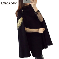 QAZXSW 2017 Women Basic Coat Korea Sweater Pullover For Woman Solid O Neck Loose Jumper Embroidery Knitted Sweater Poncho HB361