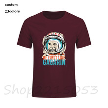 Be first like Gagarin Mens CCCP T-Shirt Plus Size XXXL Hot Cheap Short Sleeve Tee T Shirt Cotton bitcoin USSR TShirts For Male(China)