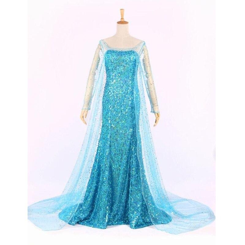 Elsa Queen Princess Adult Women Cocktail Party Dress Costume Elsa Dresses Blue Bling Snow Cosplay Dress Платье